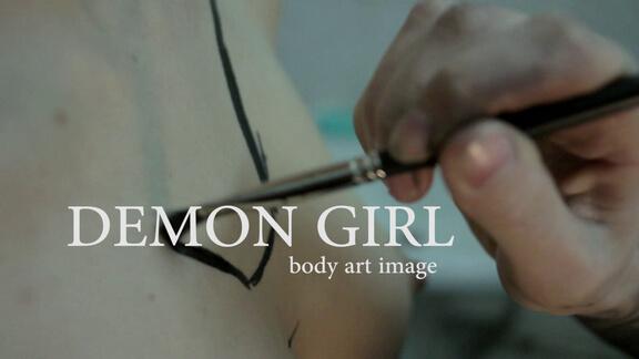 demon girl body art image -